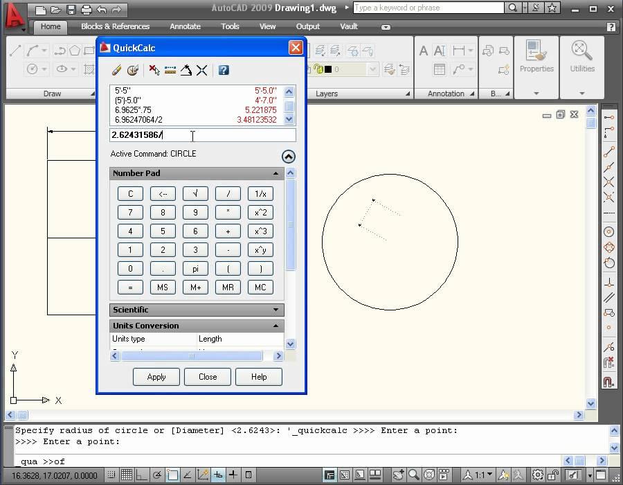 Използване калкулатор в AutoCAD